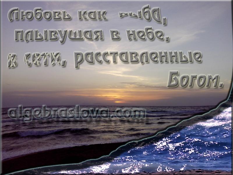 Любовь как рыба, плывущая в небе, в сети, расставленные Богом